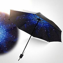 Global- Kreativer Dual-Use Faltbarer Regenschirm, Polyester Fiber Vinyl Material Sonnenschutz Sonnenschirm, Schwarz Paint Regenschirm Knochen ABS Frosted Griff Regenschirm (110 * 67 * 96cm) ( größe : 110*67*96cm )