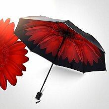 Global- Polyester-Faser-Vinyl-Material Sonnenschutz Sonnenschirm, kreativer Dual-Use-Falt-Regenschirm, schwarzer Paint-Regenschirm-Knochen ABS-mattierter Griff-Regenschirm (110*67*96cm) ( größe : 110*67*96cm )