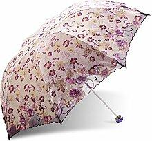 Global- Polyester-Regenschirm-Tuch Alle Stahl-Regenschirm-Stab Aluminium und Glasfaser Regenschirm Knochen Sonnenschutz Sonnenschirm, Falten Regenschirm erwachsenen Dual-Einsatz dreifach Regenschirm ( farbe : # 2 )