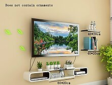 Global- PU-Beschichtung Holz-Paneele Set-Top-Box / Floating Regal / Pflanze Stand, Wall Hanging TV Backdrop Wohnzimmer Dekoration Rack Wall Shelf