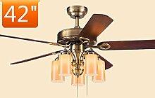 Global- Restaurant Deckenventilator Wohnzimmer Einfache moderne hölzerne Blatt-Ventilator-Kronleuchter Europäische Ventilator-Lichter ( größe : 42 inch )