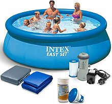 Global Set 7in1 Gartenpool 366 x 76cm INTEX Quick Up Pool 28130 mit Zubehör