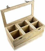 Global Village Bazaar Teebox aus Holz mit 6