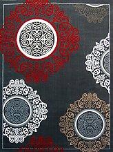 Globalen Teppich rew101–080Teppich Moderne sehr Zeitgenössische mit Samt dicke Polypropylen grau/rot 80x 140cm