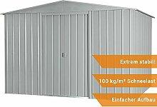 Globel Industries Metall Garten Gerätehaus Gartenhaus 10x10 silber metallic// 295x299x202 cm (BxTxH) // 9,5m² // Gerätehaus Metall Satteldach