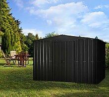 Globel Industries Metall Garten Gerätehaus Gartenhaus 8x10 anthrazit // 234x299x198 cm (BxTxH) // 7m² // Gerätehaus Metall Satteldach