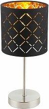 GLOBO CLARKE Tischlampe Gold Schwarz Lampenschirm