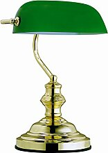 Globo Tischleuchte Bankerlampe messing Glas grün,