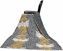GLÖÖCKLER by KBT Bettwaren 4001626000456 Wohn und Kuscheldecke mit Leo Muster, 150 x 200 cm Microfaser, schwarz / grau