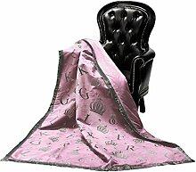 GLÖÖCKLER by KBT Bettwaren 4001626000500 Wohn und Kuscheldecke, 150 x 200 cm Microfaser Alcantara/Felloptik, rosa mit goldenem Kronenmotiv