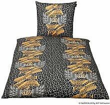 GLÖÖCKLER by KBT Bettwaren 4001626021161 Bettwäsche-Set Leo, 80 x 80 und 135 x 200 cm Baumwolle-Satin, schwarz