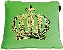 GLÖÖCKLER by KBT Bettwaren 4001626021727 Zierkissen Gefüllt mit goldener Pailletten Krone, 50 x 50 cm, grün