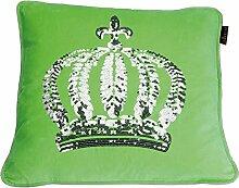 GLÖÖCKLER by KBT Bettwaren 4001626021734 Zierkissen Gefüllt mit silberner Pailletten Krone, 50 x 50 cm, grün