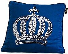 GLÖÖCKLER by KBT Bettwaren 4001626021758 Zierkissen Gefüllt mit silberner Pailletten Krone, 50 x 50 cm, blau