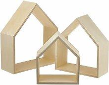 Glorex Design-Rahmen Holz Häuser 3St