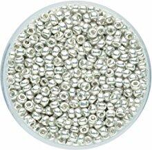 Glorex Rocailles 2,6 mm, 17 g, Glas, Silber, 4 x 4