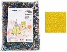 Glorex Rocailles 2,6 mm Beutel 500 g, Glas, Gelb,