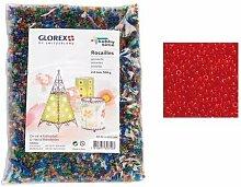 Glorex Rocailles 2,6 mm Beutel 500 g, Glas, Rot,