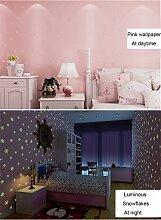 Glow in the Dark Kids Muster Kontakt Papier, selbstklebend, nicht-gewebte Tapete für Mädchen Schlafzimmer Weihnachten Home Wand-Decor Aufkleber ( Pink, 53 x 300 cm )