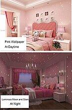 Glow in the Dark Kids Muster Kontakt Papier, selbstklebend, nicht-gewebte Tapete für Mädchen Schlafzimmer Weihnachten Home Wand-Decor Aufkleber (Pink, 52,9 x 300 cm )