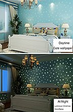 Glow in the Dark Kids Muster Kontakt Papier, selbstklebend, nicht-gewebte Tapete für Jungen Schlafzimmer Weihnachten Home Wand-Decor Aufkleber (blau, 52,9cm von 9.8Füße)