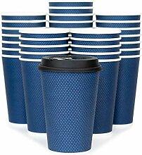 Glowcoast Einweg-Kaffeebecher mit Deckel, 340 ml,