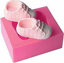 Gluckliy Baby Schuh Form Silikon Backform Fondant Sugarcraft Kuchen Dekorieren Werkzeuge Küche Zubehör Bakeware Backzubehör, Rosa