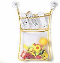 Gluckliy Bad Mesh Net Storage Bag mit Haken Bad Badewanne Spielzeug Hängehalter (Gelbe Seite)
