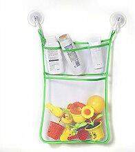 Gluckliy Bad Mesh Net Storage Bag mit Haken Bad Badewanne Spielzeug Hängehalter (Grüne Seite)