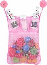 Gluckliy Bad Mesh Net Storage Bag mit Haken Bad Badewanne Spielzeug Hängehalter (Rosa)