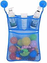 Gluckliy Bad Mesh Net Storage Bag mit Haken Bad Badewanne Spielzeug Hängehalter (Blau)