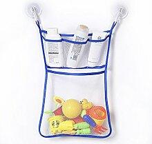 Gluckliy Bad Mesh Net Storage Bag mit Haken Bad Badewanne Spielzeug Hängehalter (Blaue Seite)
