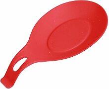 Gluckliy Küche Silikon Löffel Rest Hitzebeständige Antihaft-Silikon Kochen Werkzeuge Mat (Rot)