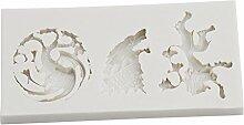 Gluckliy Silikonform Fondant Form Kuchen Dekorieren Werkzeuge Schokolade Gumpaste Form, Löwe, drei Drachen, Wolfskopf