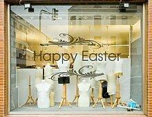 Glücklich Ostern Schaufenster Aufkleber Zeichen Abziehbild Grafik Saisonale - Rosa Matt, L