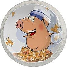 Glückliches Schwein Küchenknopf Klarglasschrank