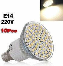 Gluehlampe - SODIAL(R) 10 Stueck E14 3528 SMD 60 LED warmweiss Gluehlampe Lampe 220V