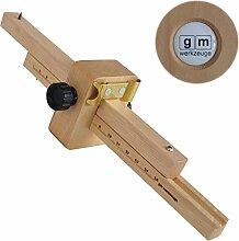 GM Streichmaß 150 mm aus Weißbuche mit Kurvenanschlag, Anreißmaß Streichmass Anreißwerkzeug aus Holz Original GM - Qualitä