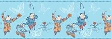 GMM Bordüre selbstklebend- Kinder Tapetenborte zum dekorieren von Wand und Möbel in hellblau 3x5m