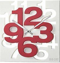 GMMH 3 D Moderne Design Wanduhr 1106 Küchenuhr Baduhr Bürouhr Dekoration ruhig (weiß rot)