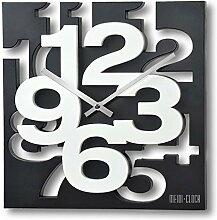 GMMH 3 D Moderne Design Wanduhr 1106 Küchenuhr Baduhr Bürouhr Dekoration ruhig (schwarz weiß)