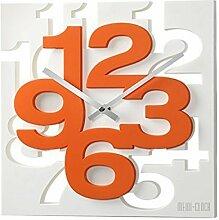 GMMH 3 D Moderne Design Wanduhr 1106 Küchenuhr Baduhr Bürouhr Dekoration ruhig (weiß orange)