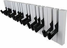 GMMH Design Klavier Wandgarderobe Kleiderhaken Hakenleiste, 16 Haken Garderobe Piano, schwarz-weiß