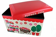 GMMH Hocker 49 x 31 x 31 cm Faltbarer Original Spielzeugbox Spielzeugtruhe Spielzeugkiste AufbewahrungsboxSitzhocker faltbar (Flower Shop)