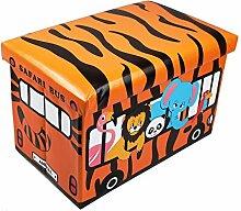 GMMH Hocker Safari 49 x 31 x 31 cm Faltbarer Original Spielzeugbox Spielzeugtruhe Spielzeugkiste AufbewahrungsboxSitzhocker faltbar
