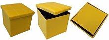 GMMH Hocker Sitzhocker 38 x 38 x 38 cm Box Aufbewahrungsbox Sitzwürfel Truhe Fußbank Sitzbank Faltbar (gelb)