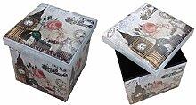 GMMH Hocker Sitzhocker London Box Aufbewahrungsbox Sitzwürfel Truhe Fußbank Sitzbank Faltbar