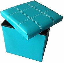 GMMH Hocker Sitzhocker Original 38 x 38 x 38 cm Box Aufbewahrungsbox Sitzwürfel Truhe Fußbank Sitzbank Faltbar (Blau)