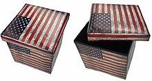 GMMH Hocker Sitzhocker USA Box Aufbewahrungsbox Sitzwürfel Truhe Fußbank Sitzbank Faltbar