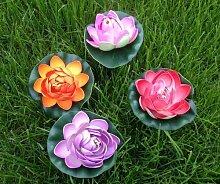 GMMH Wasserlilie Schwimmend Lotusblüte Lotusblume Seerose 12 cm groß künstliche Blumen sehr original wie echt Deko Teichrose